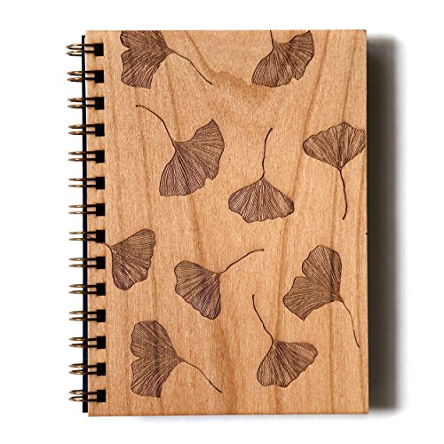 Ginkgo Laser Cut Wood Journal (Notebook / Birthday Gift / Gratitude Journal / Handmade)