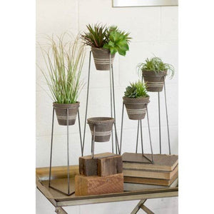Kalalou Clay Pots with Wire Bases, Set of Five