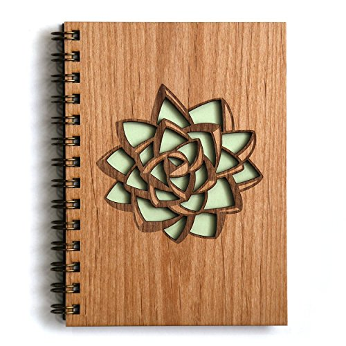 Succulent Laser Cut Wood Journal (Notebook / Birthday Gift / Gratitude Journal / Handmade)