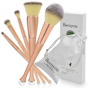 Becoyou 5pcs Makeup Brushes set Professional, Mermaid Makeup Brush Set for Face Powder Foundation Concealer Eyeshadow Liquid Blush Cosmetics Blending Brush Tool