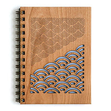 Scallop Reflections Laser Cut Wood Journal (Notebook / Birthday Gift / 5th Anniversary / Gratitude Journal / Handmade)