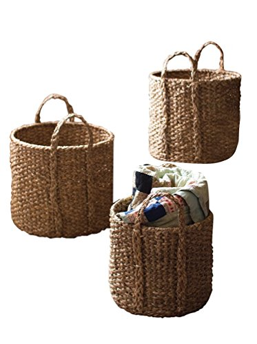 Kalalou Seagrass Round Braided Storage Basket with Handle, Set of 3