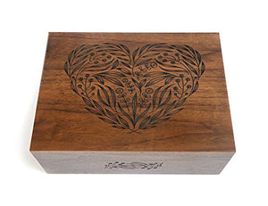 Floral Heart Laser Cut Wood Keepsake Box (Wedding Gift / Baby Shower Gift / 5 Year Anniversary / Heirloom / Decorative / Handmade / Personalized Available)