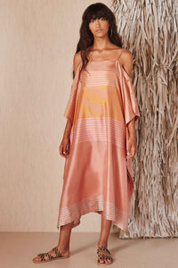Roua Clay Stripe Silk Caftan