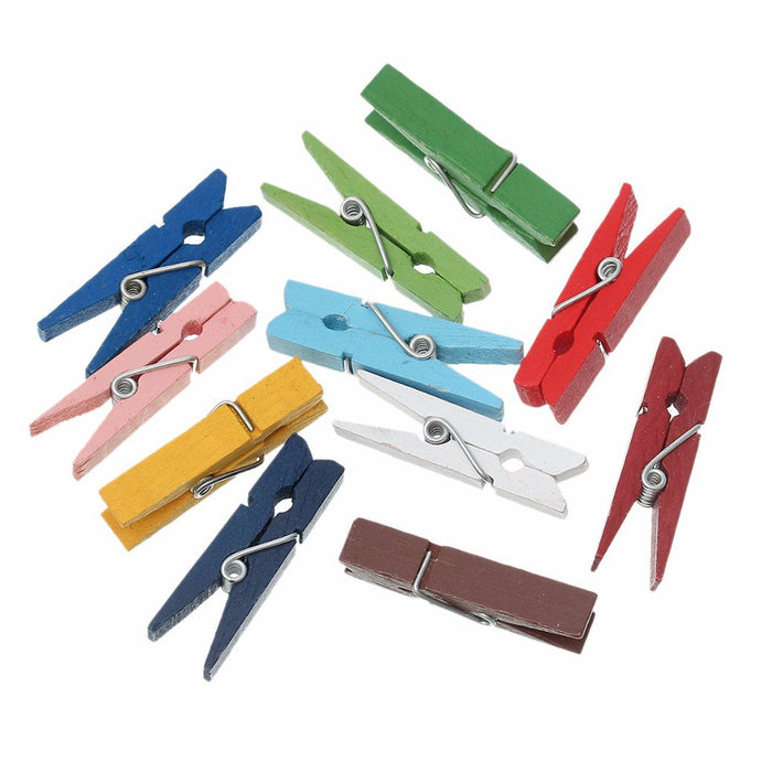 Wooden Clothespin Note Clips - 100 Pack