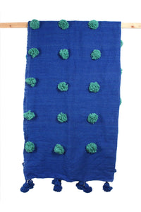 Cobalt Wool Super Pom Pom Blanket