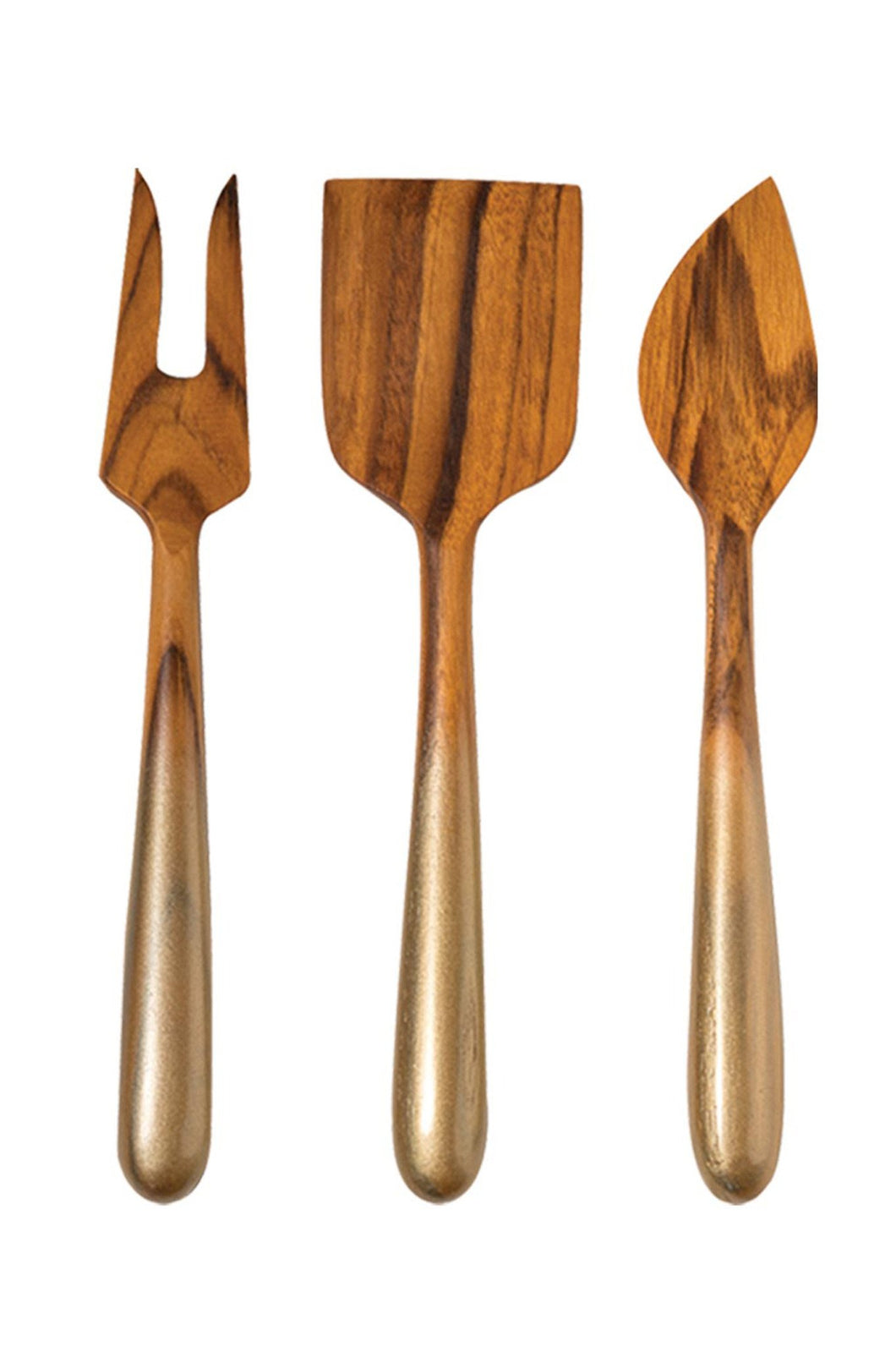 Teak Cheese Set with Gold Handles