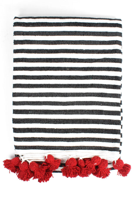 Striped Cotton Pom Pom Blanket
