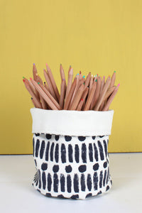 Indigo Dot Dash Print Canvas Storage Pots