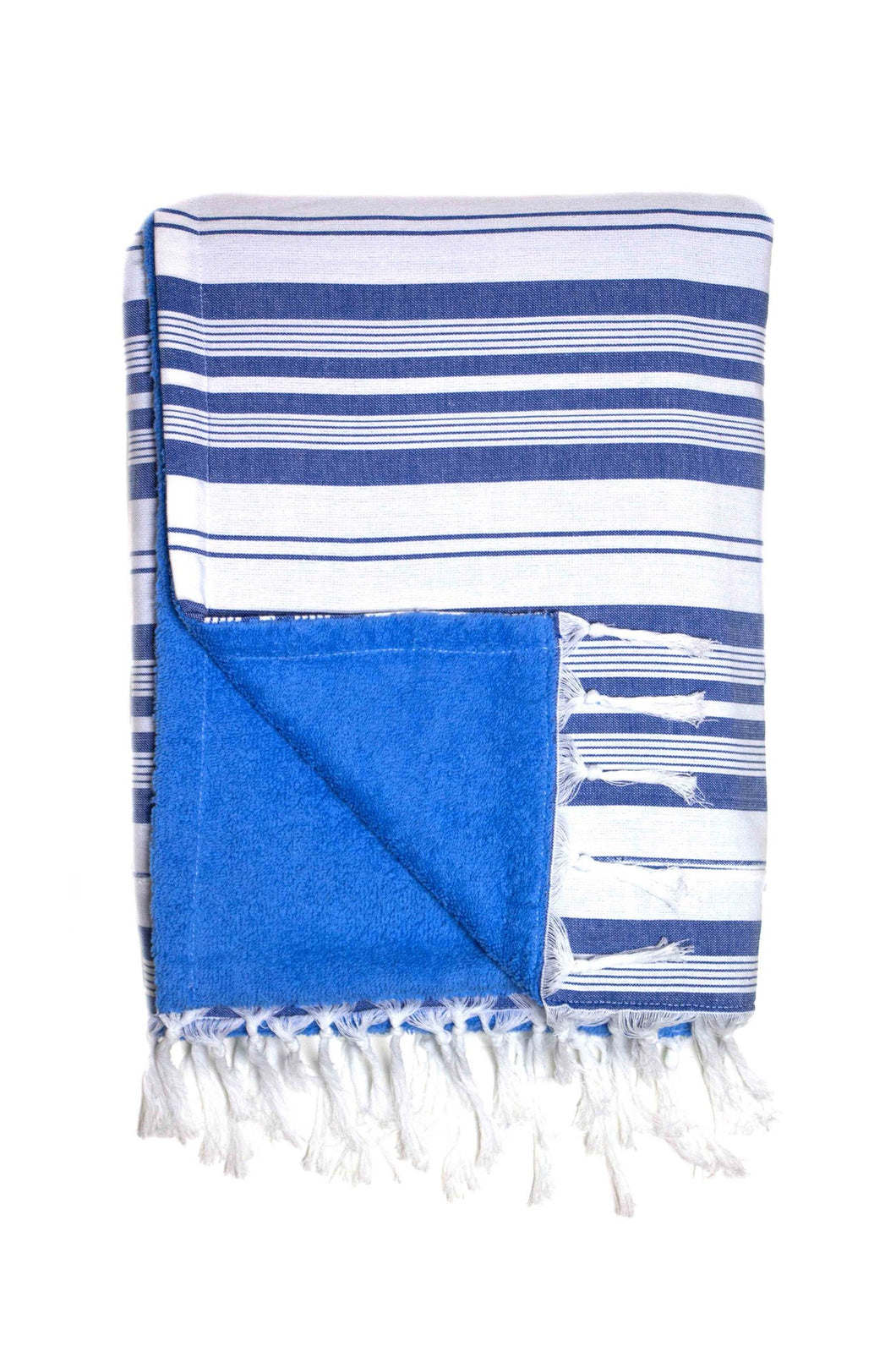 Mykonos Blue & White Stripe Beach Towel