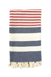 Nautical Red & Blue Striped Towel