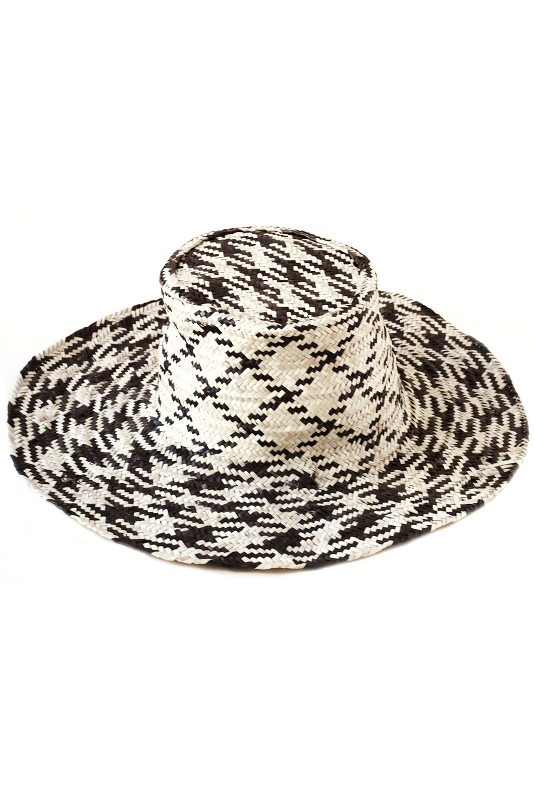 Woven Black & Natural Wide Brim Hat