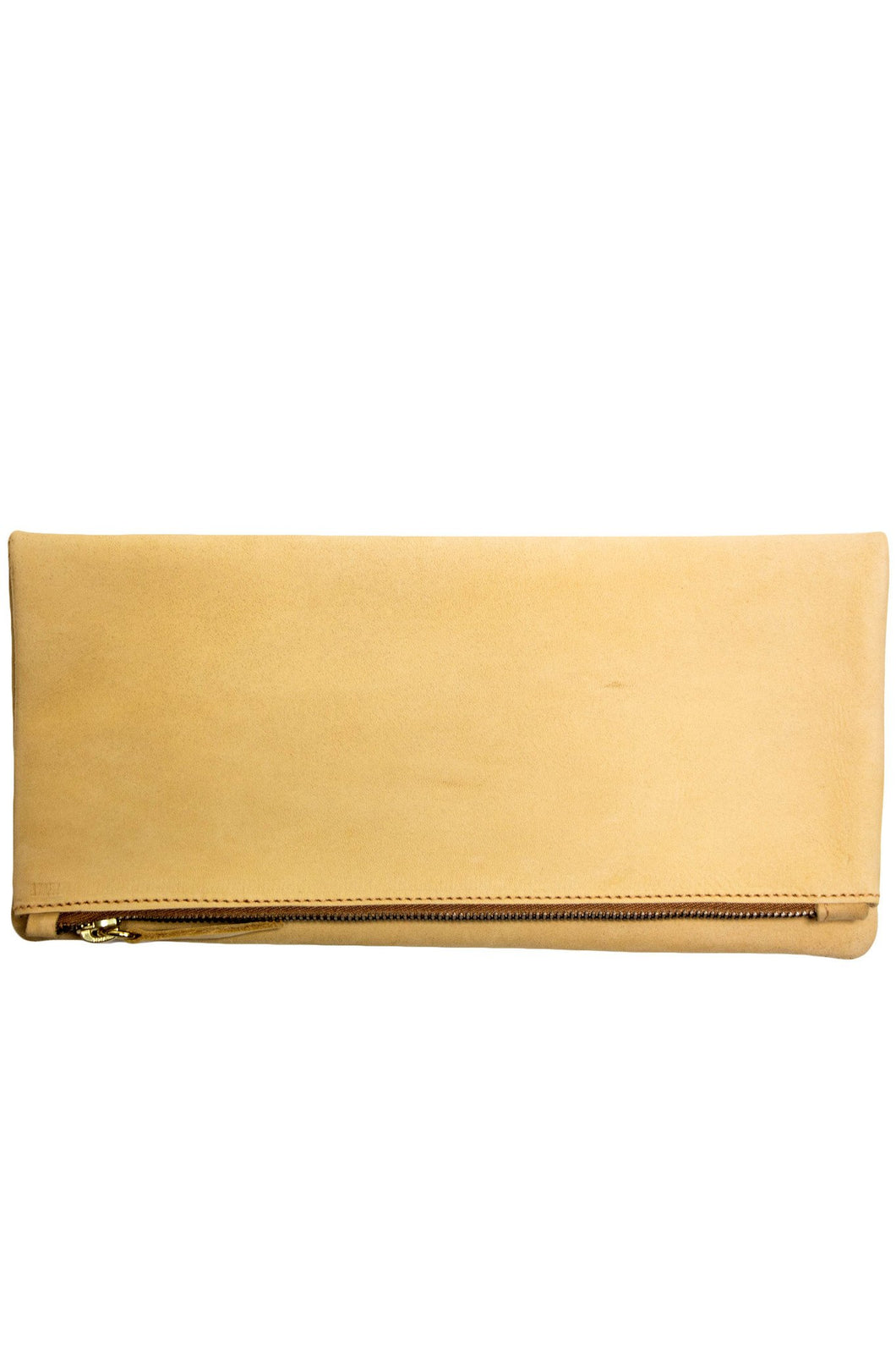 Nubuck Leather Foldover Clutch