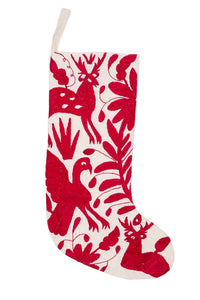 Otomi Embroidered Red Stocking