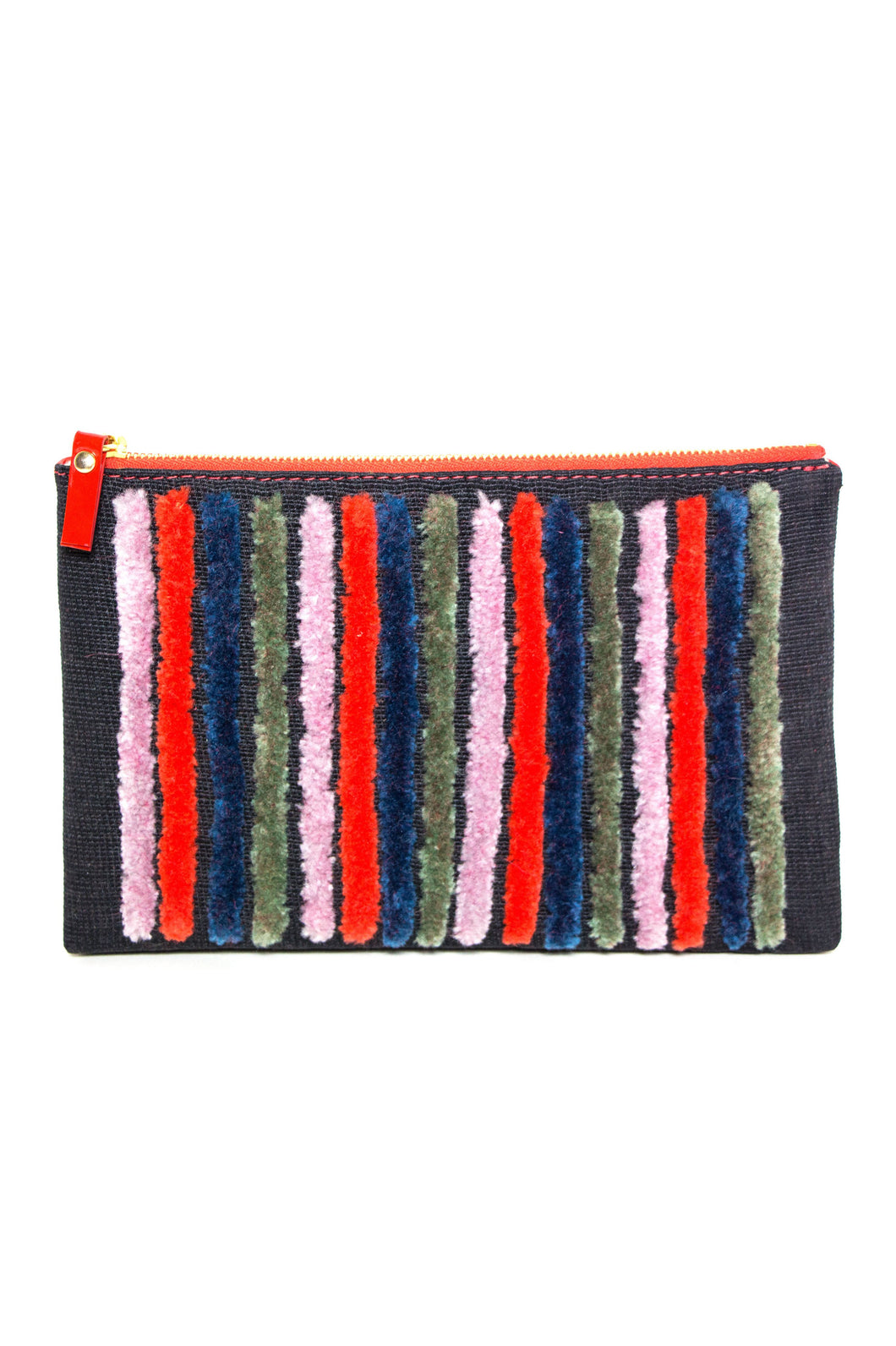 Rebel Embroidered Wool and Patent Leather Clutch