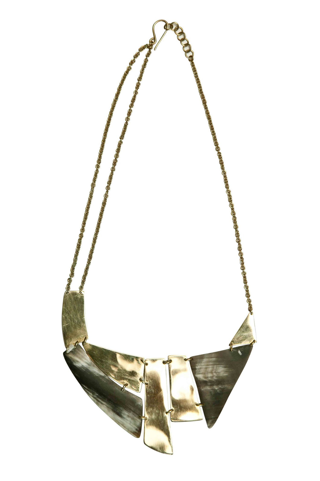 Kerina Dark Horn + Brass Breastplate Necklace