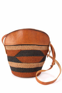 Woven Sisal Cowgirl Handbag with Leather Top