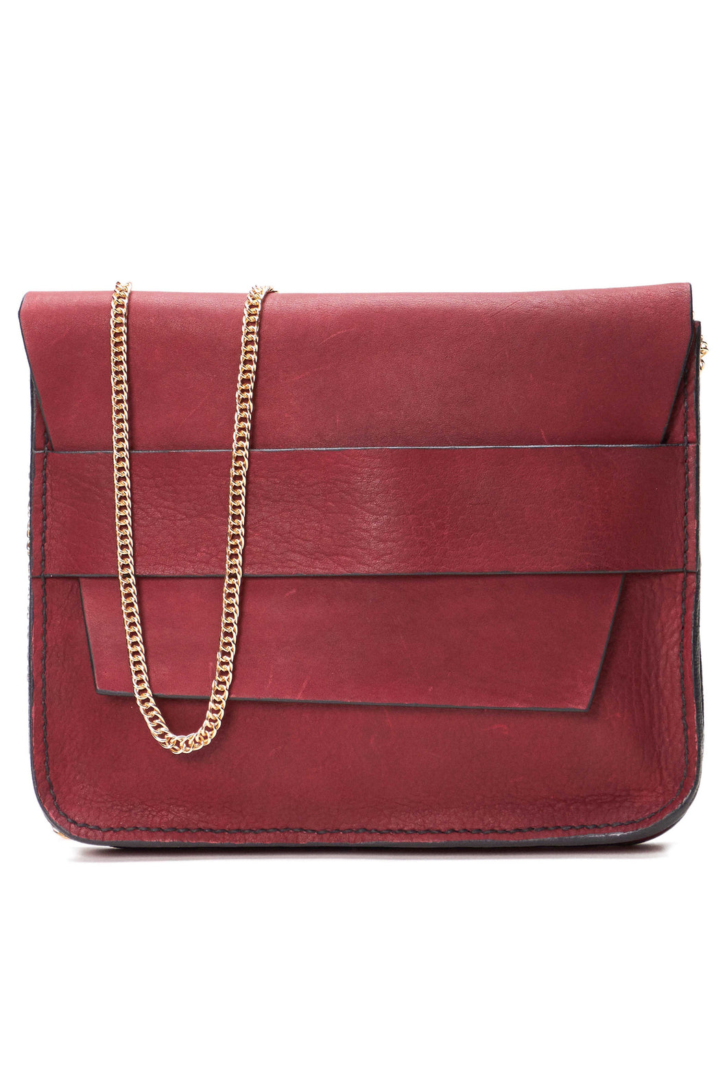 Banded Bordeaux Clutch