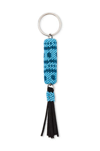 Blue Beaded Tassel Key Fob