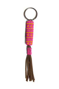 Pink Beaded Tassel Key Fob