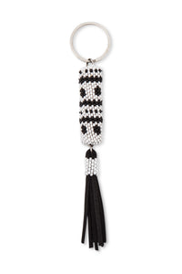 B&W Beaded Tassel Key Fob