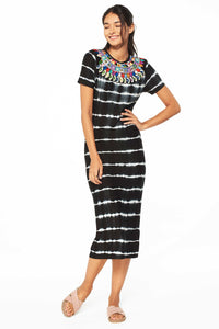 Zain Embroidered Tie-Dye Dress