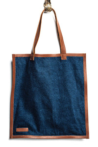 Elise Denim & Leather Tote