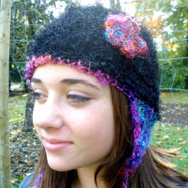 Crochet This!  Sari Silk Beanie and Ear Flap Hat Pattern