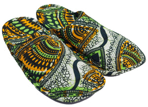 Green & Yellow Gold Tribal Slippers (Uni-sex)