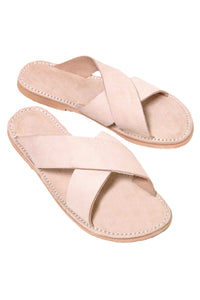 Peace Blush Leather Slide Sandals