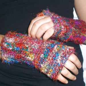 Crochet This! DGY's Premium Recycled Sari Silk Fingerless Mitts Pattern