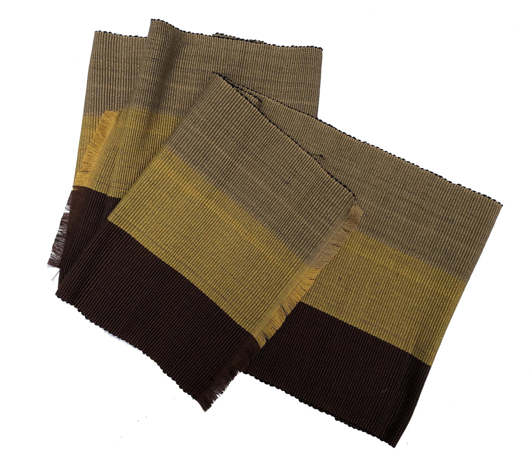 Woven Organic Cotton Table Runner--Sand, Mustard and Cocoa Brown