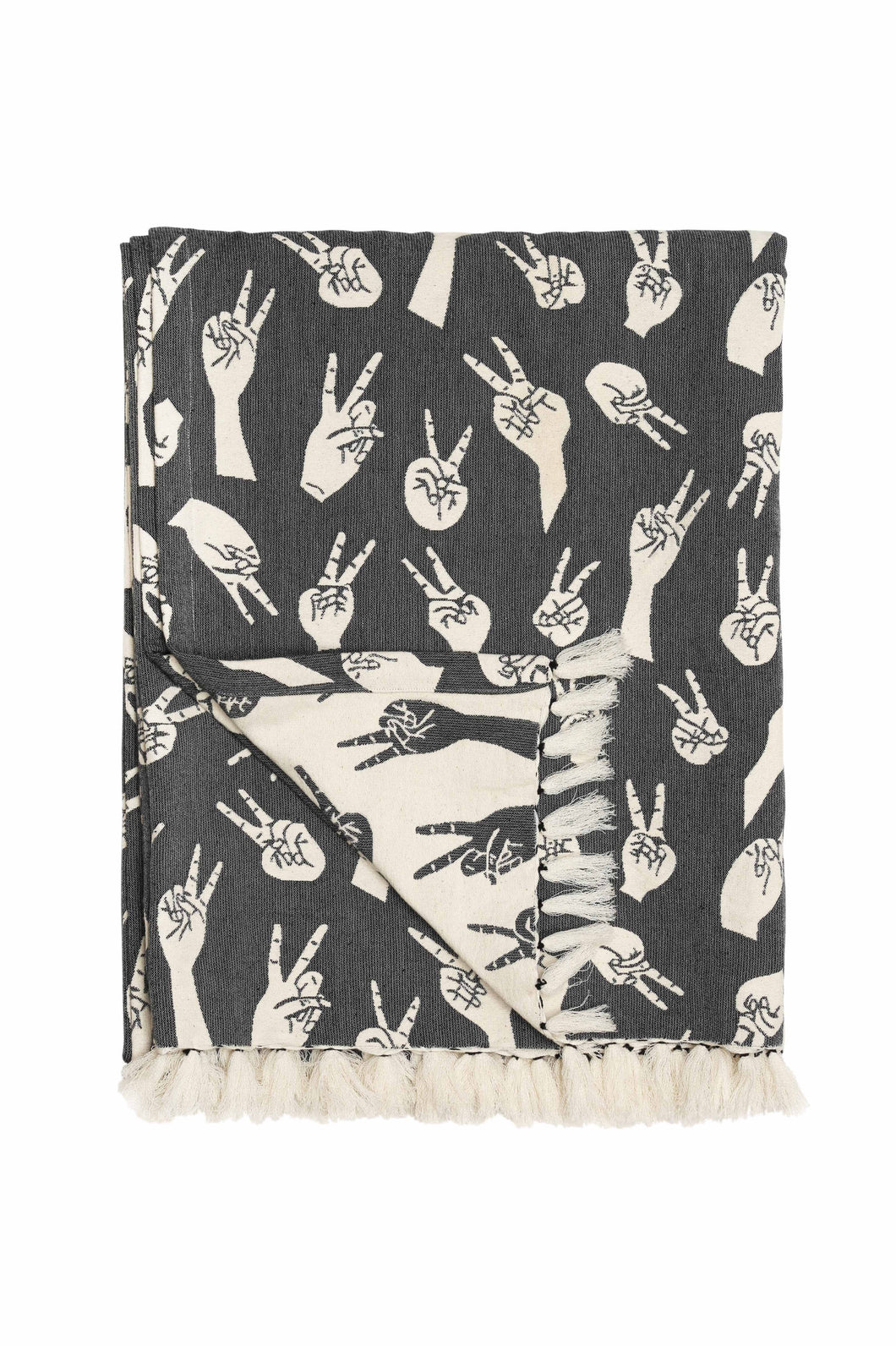Grey Woven Peace Hands Throw