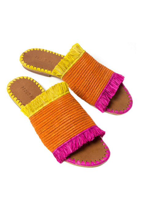 Raffia Tropical Fringe Slide Sandal