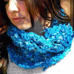 The Sara Cowl: A Sari Ribbon Knit Cowl Easy Pattern - Digital Download