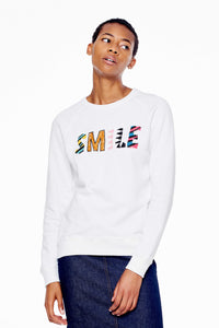 SMILE White Beaded Sweatshirt