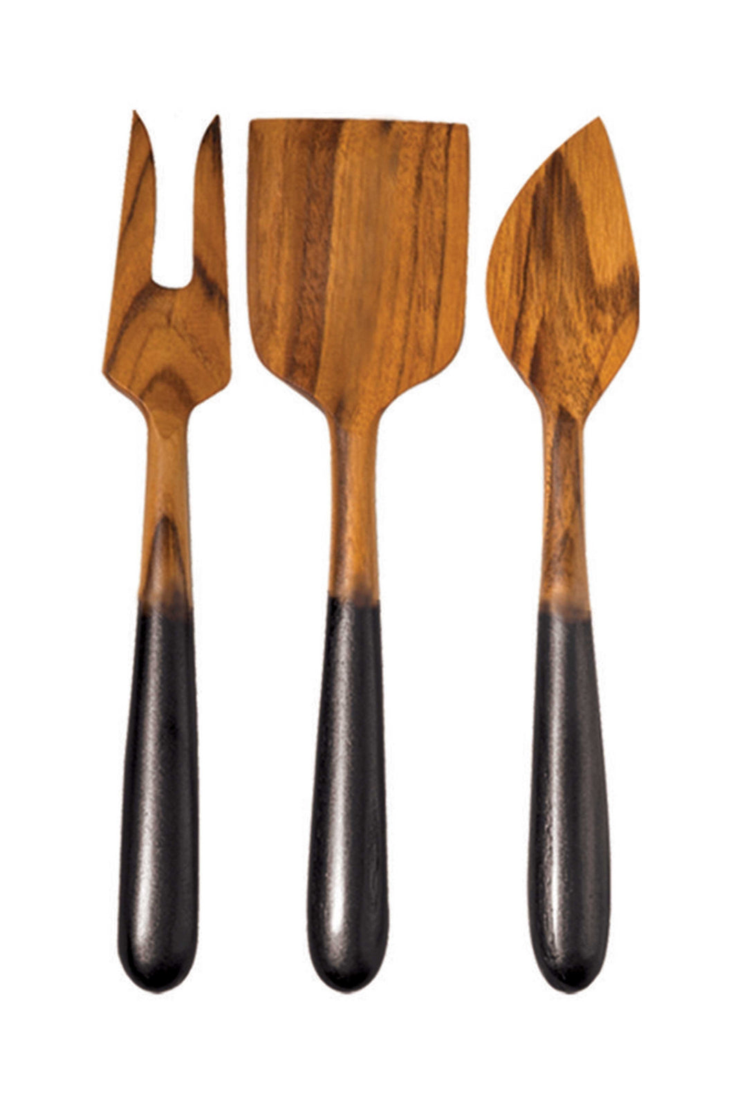 Teak Cheese Set of 3 with Black Handles