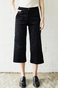 Lucy Cropped Black Velvet Trouser