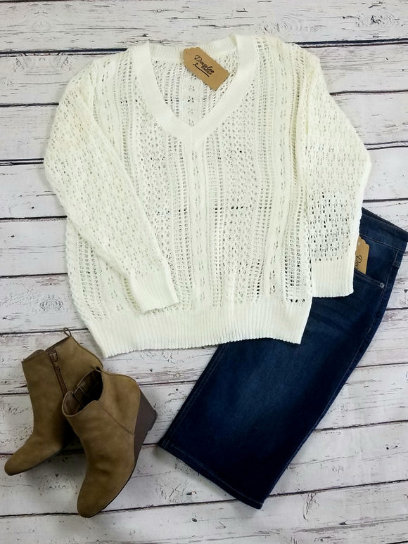 Offwhite Soft Crochet Sweater with V neck - Small to Large