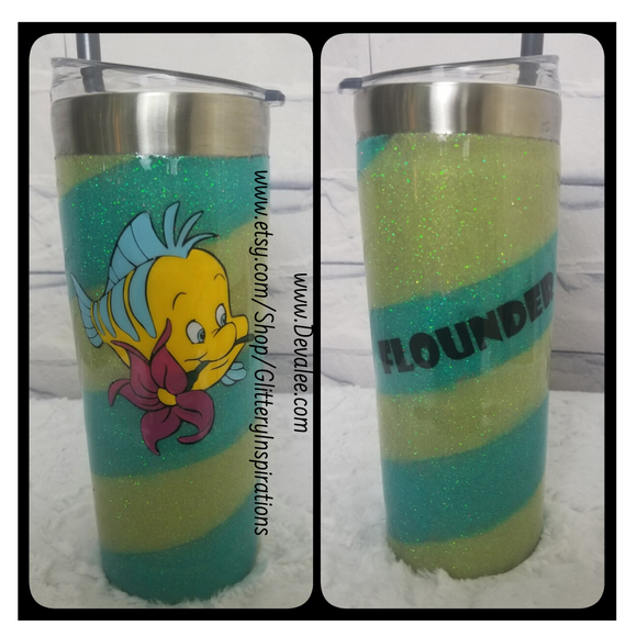 Customize your 24 oz Flounder Glitter Tumbler - The Little Mermaid - Stainless Steel for Hot or Cold Drinks