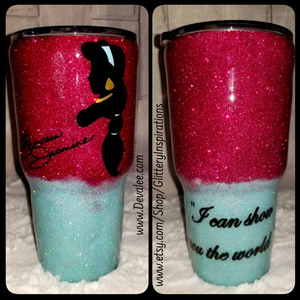 Customize a 30 oz Princess Jasmine Glitter Tumbler - Stainless Steel with Spillproof Lid for Hot or Cold Drinks