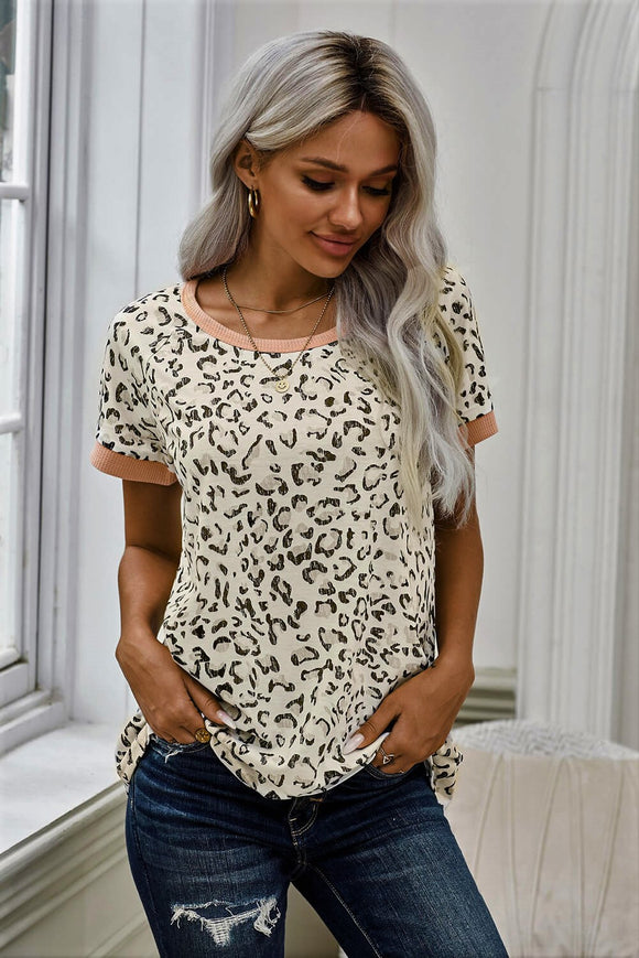 Leopard Print Top with Peach Waffle knit Trim