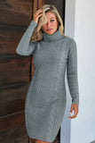 Turtleneck Cable Knit Sweater Dress in Gray