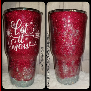 Customize your Let It Snow 30 oz Glitter Tumbler - Stainless Steel with Spillproof Lid for Hot or Cold Drinks