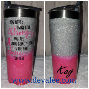 Customize your Breast Cancer Survivor Glitter Tumbler - Stainless Steel for Hot or Cold Drinks