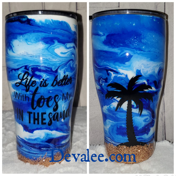 In Stock 30 oz Beach Theme Alcohol Ink Tumbler - Stainless for Hot and Cold Drinks
