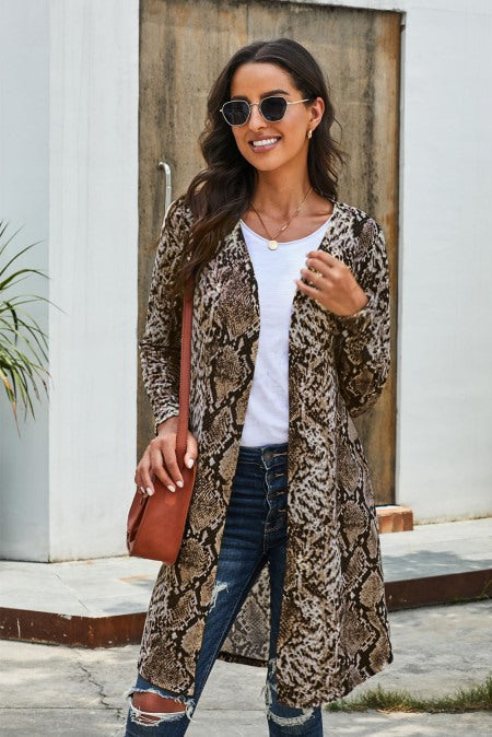 Brown Snake Print Long Cardigan