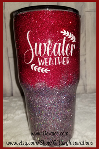In stock Glitter Tumbler 30oz - Sweater Weather - Stainless Steel Spillproof Lid for Hot or Cold Drinks