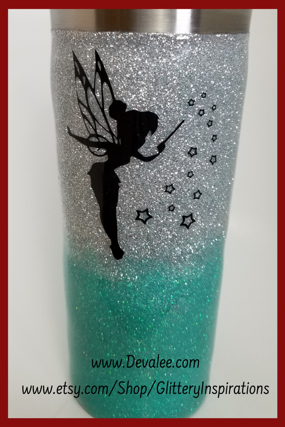 Customize Your Tinkerbell Glitter Tumbler - Stainless Steel for Hot or Cold Drinks