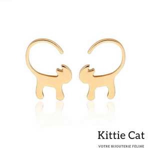 Boucles d'oreille en forme de chat en or
